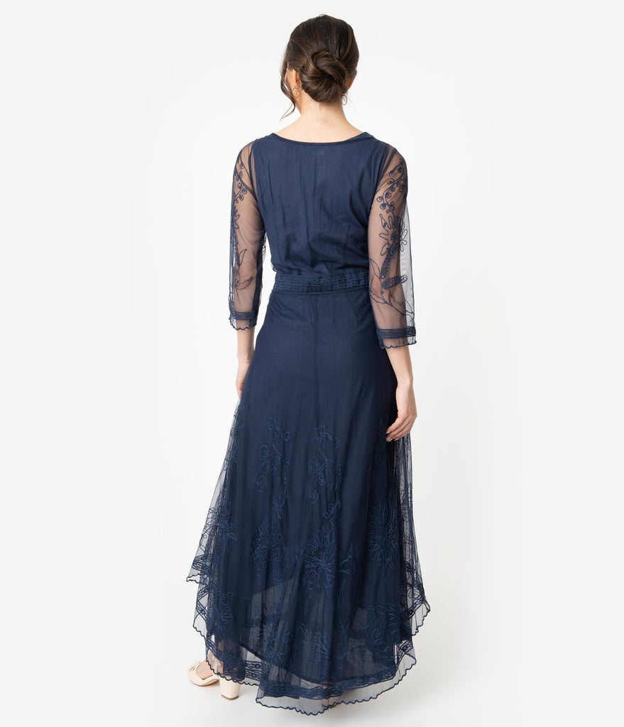 Royal Blue Embroidered Tulle Downton Abbey Edwardian Tea Party Dress