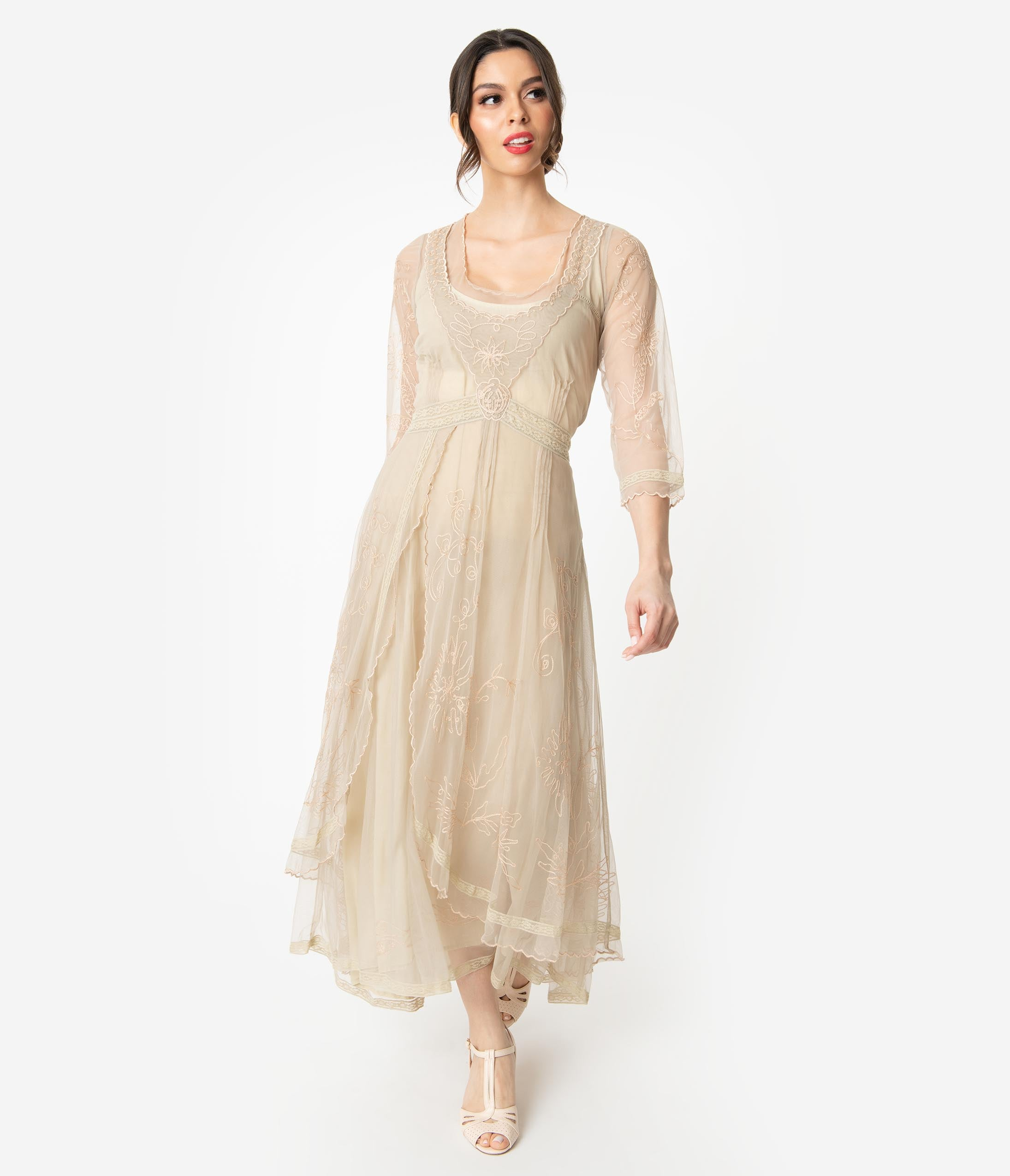 Vintage Tea Dresses, Floral Tea Dresses, Tea Length Dresses Vintage Cream Embroidered Tulle Downton Abbey Edwardian Tea Party Flapper Dress $258.00 AT vintagedancer.com