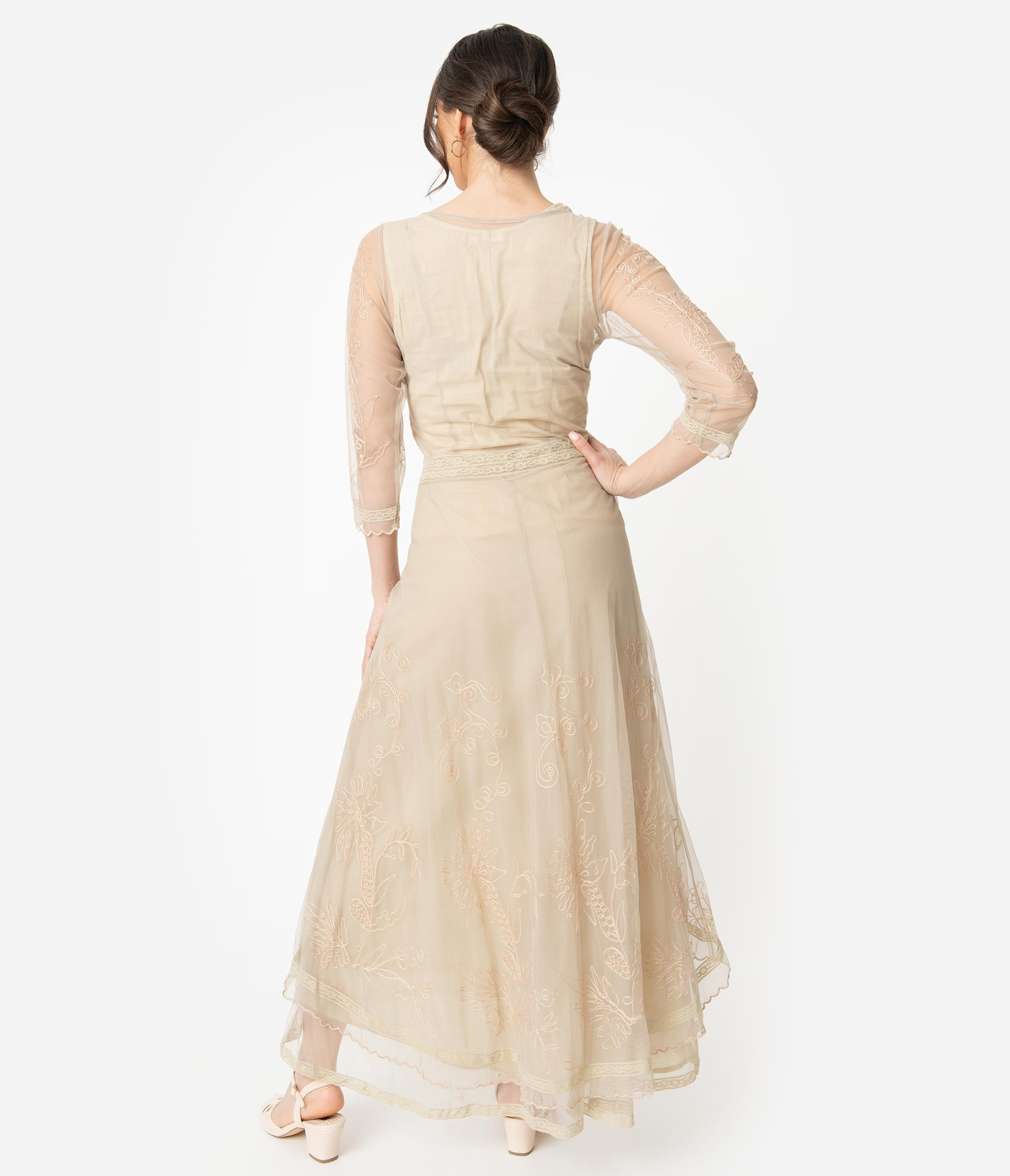 fbf9e406849 Vintage Cream Embroidered Tulle Downton Abbey Edwardian Tea Party Dress