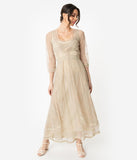 Vintage Cream Embroidered Tulle Downton Abbey Edwardian Tea Party Dress