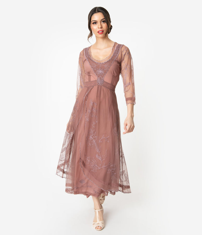 Mauve Rose Embroidered Tulle Downton Abbey Edwardian Tea Party Dress