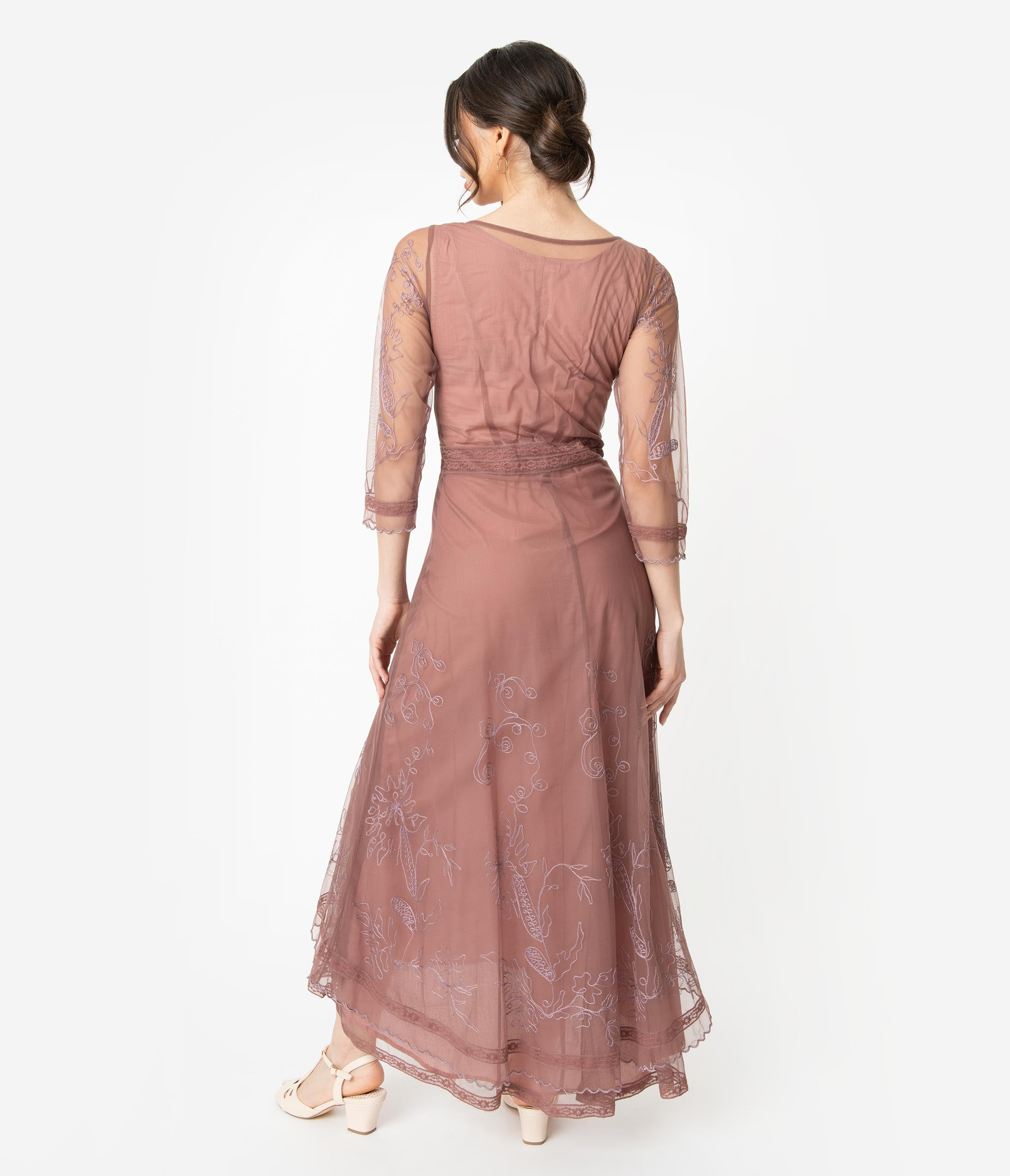 8d708774fb0 Mauve Rose Embroidered Tulle Downton Abbey Edwardian Tea Party Dress