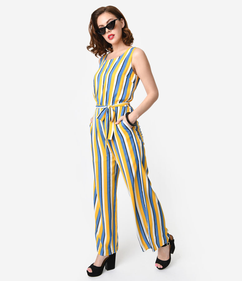 Yellow White & Blue Striped Woven Sleeveless Wide Leg Jumpsuit