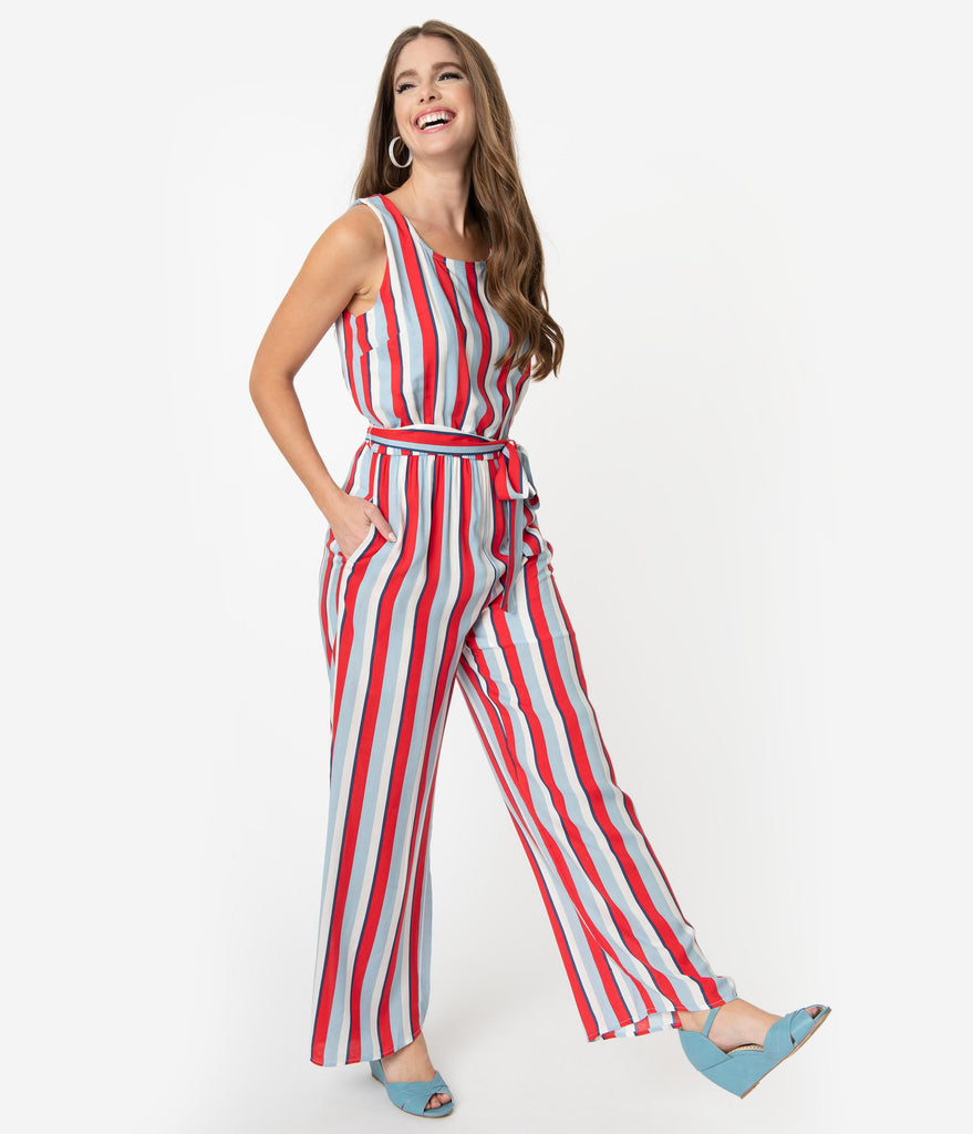 3b8cdd58d5c Red White & Blue Striped Woven Sleeveless Wide Leg Jumpsuit – Unique ...