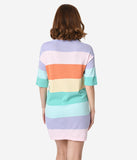 Pastel Rainbow Striped Short Sleeve Knit Shift Dress