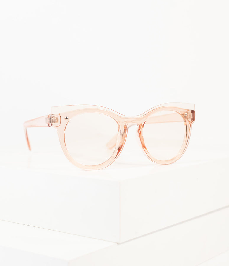 Vintage Style Translucent Peach Rounded Lens Cat Eye Sunglasses