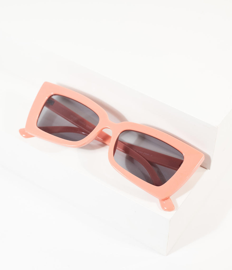 1960s Style Pink Mod Rectangle Cat Eye Sunglasses