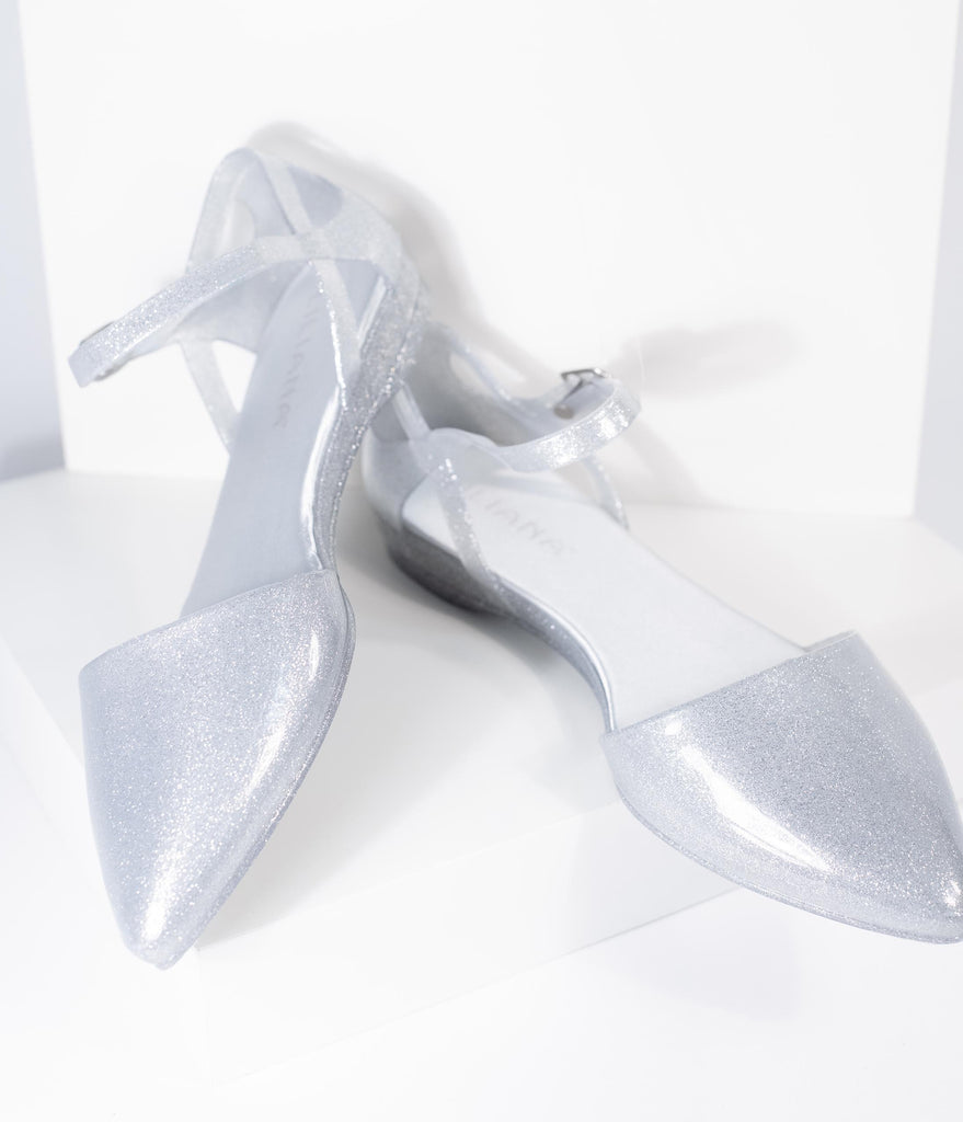 Silver Sparkle Jelly Pointed Toe d'Orsay Flat
