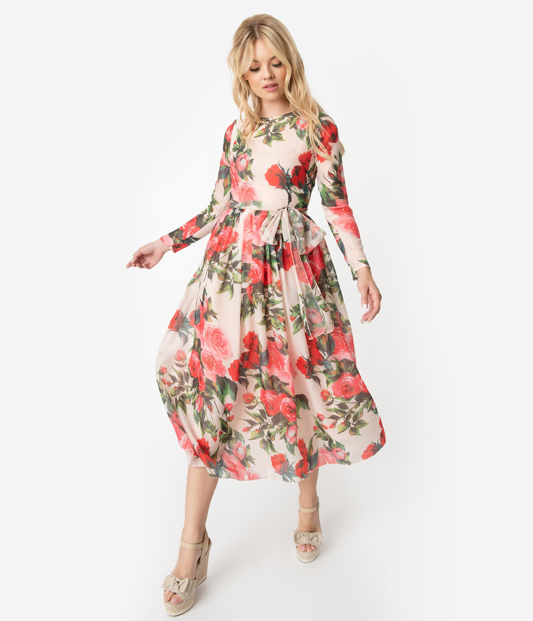e99fb7be82 1970s Style Peach   Pretty Pink Rose Print Chiffon Long Sleeve Midi Dress