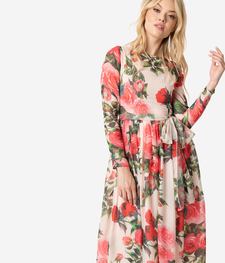 8153b730b1 ... 1970s Style Peach   Pretty Pink Rose Print Chiffon Long Sleeve Midi  Dress ...