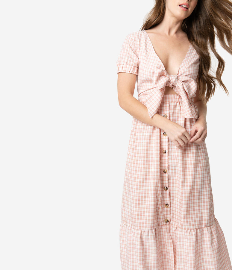 Retro Style Light Pink & Ivory Plaid Front Tie Midi Dress