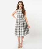 Retro Style Grey & Ivory Summer Plaid Sleeveless Cotton Swing Dress