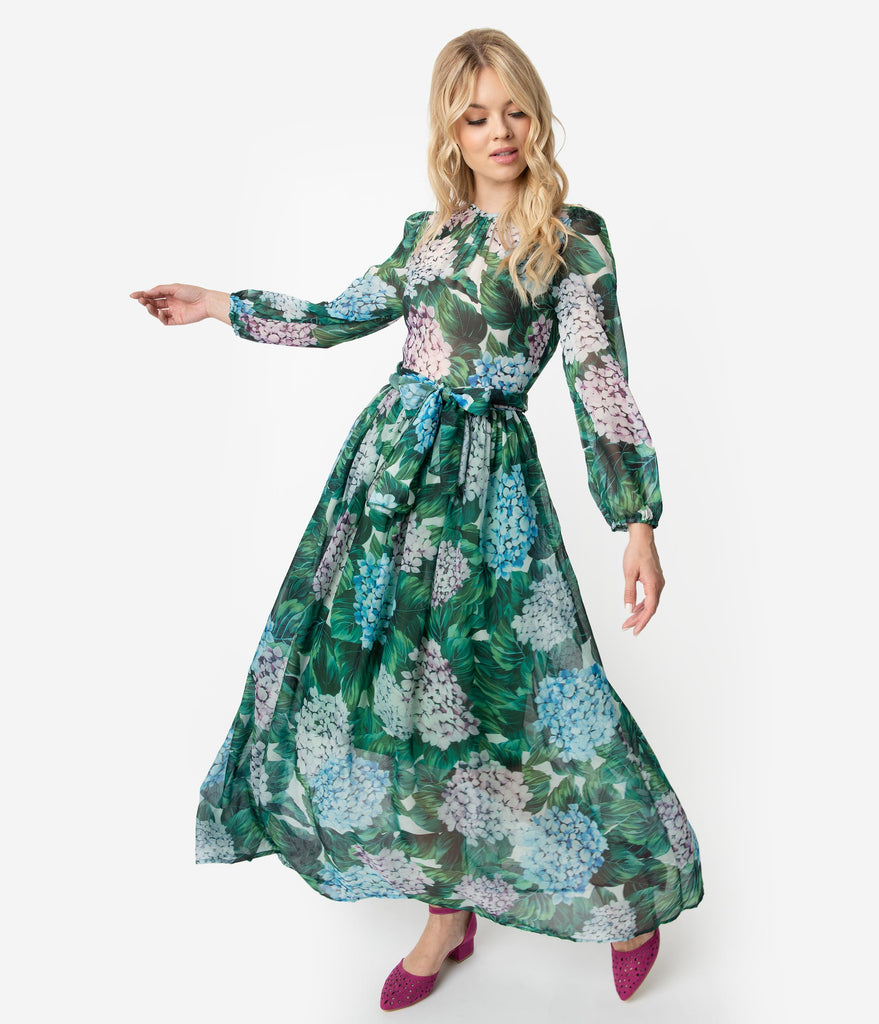1970s Style Green & Multi Hydrangea Floral Print Chiffon Long Sleeve Maxi Dress