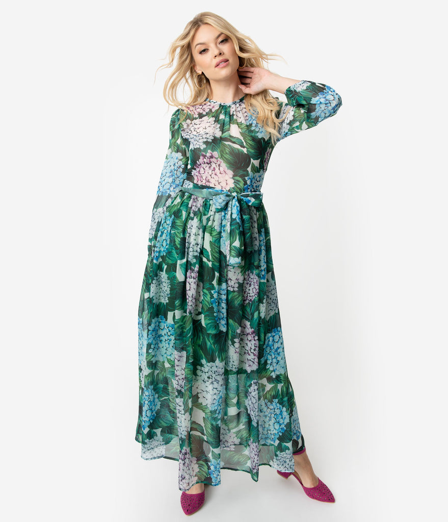 97cc4642d3 ... 1970s Style Green   Multi Hydrangea Floral Print Chiffon Long Sleeve  Maxi Dress