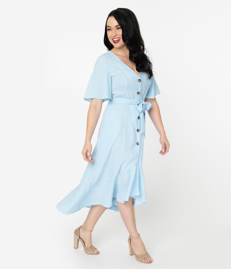 Light Blue Crepe Button Up Asymmetrical Midi Dress