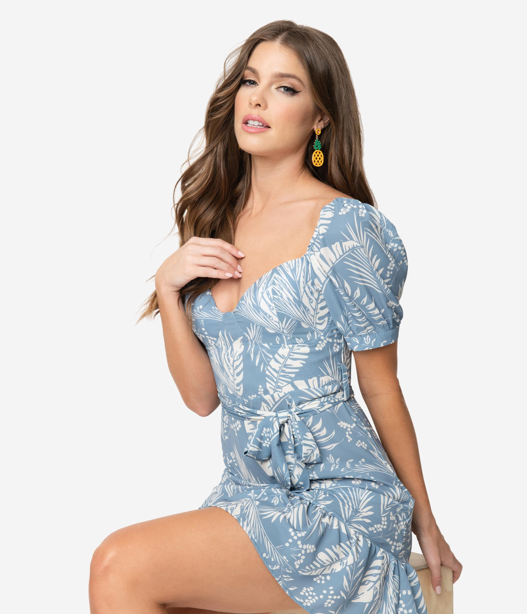 17bd60cdaa61 1960s Style Dusty Blue & Ivory Tropical Print Short Sleeve Mini Dress