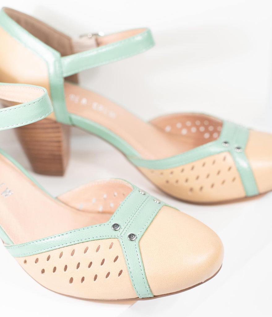 Chelsea Crew Beige & Mint Leatherette Rounded Toe Zest Pumps