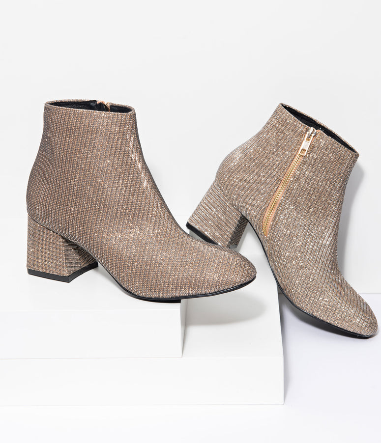 Chelsea Crew Golden Woven Rich Heel Booties