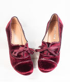 Chelsea Crew Burgundy Red Velvet Scalloped Oxford Pumps