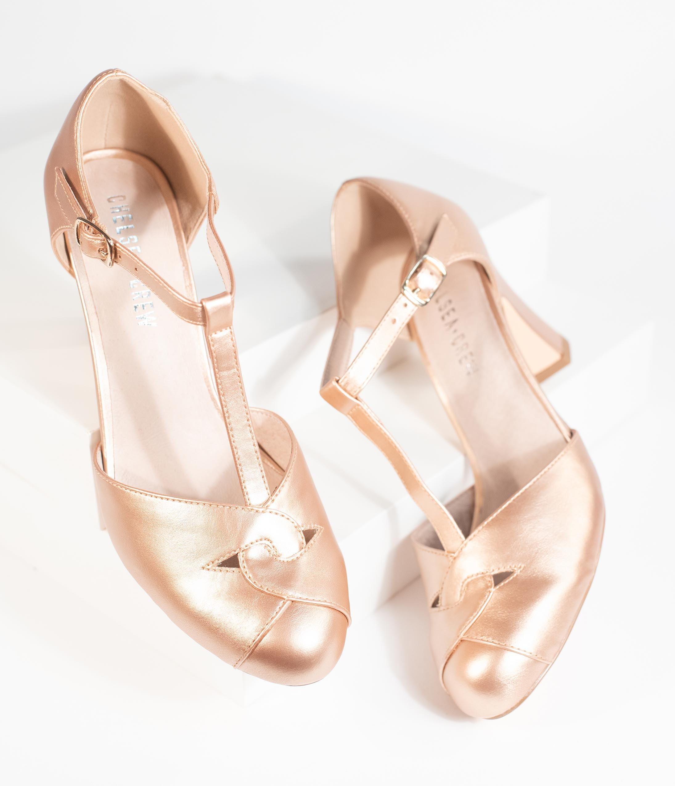 Vintage Heels, Retro Heels, Pumps, Shoes Chelsea Crew Rose Gold Leatherette Glinda T-Strap Heels $78.00 AT vintagedancer.com
