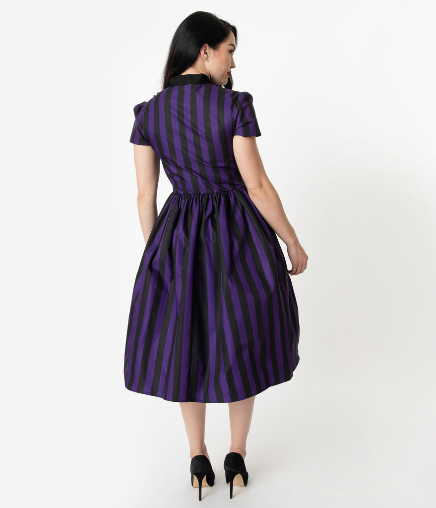 Unique Vintage 1950s Style Purple & Black Striped Cora Swing Dress