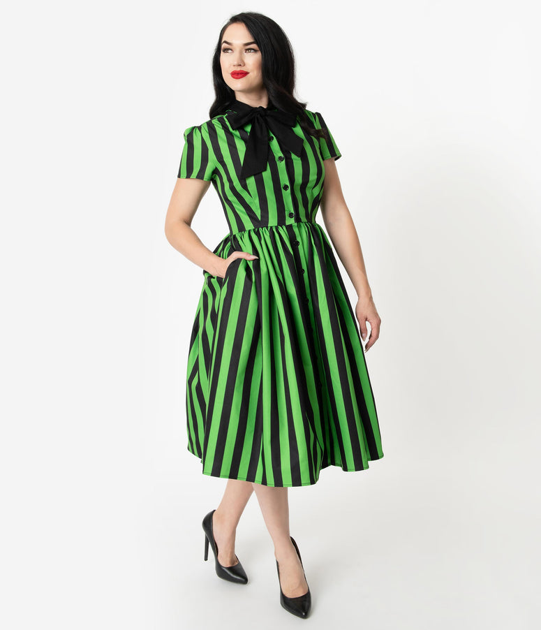 61ab89852 Unique Vintage 1950s Style Green & Black Striped Button Up Swing Dress