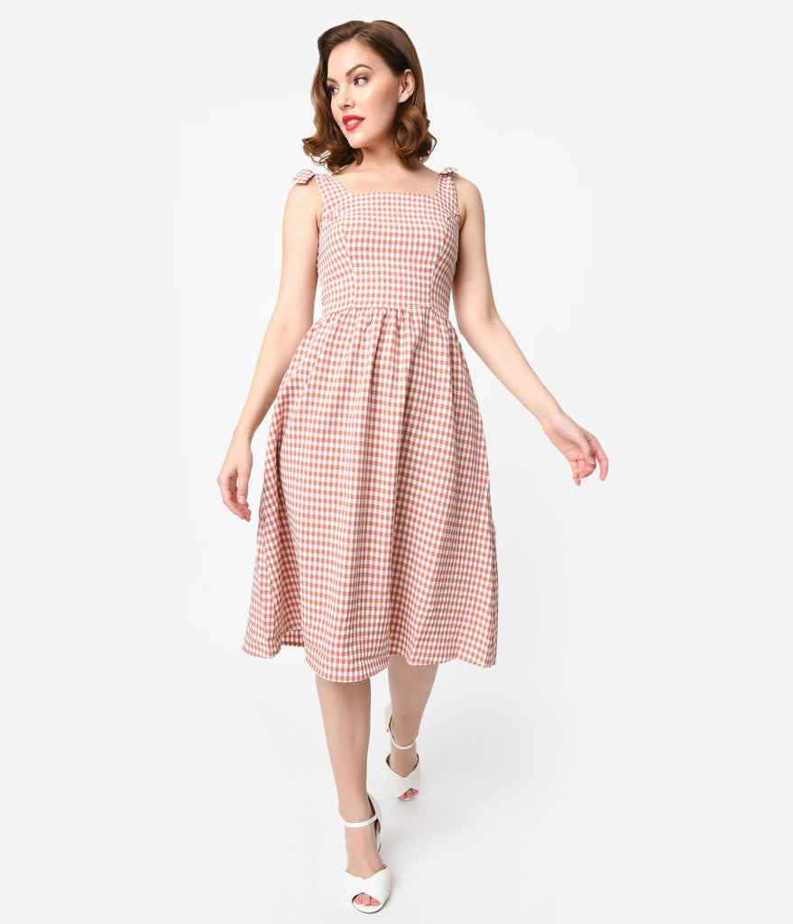 1950s Style Coral & White Gingham Crepe Sleeveless Midi Dress