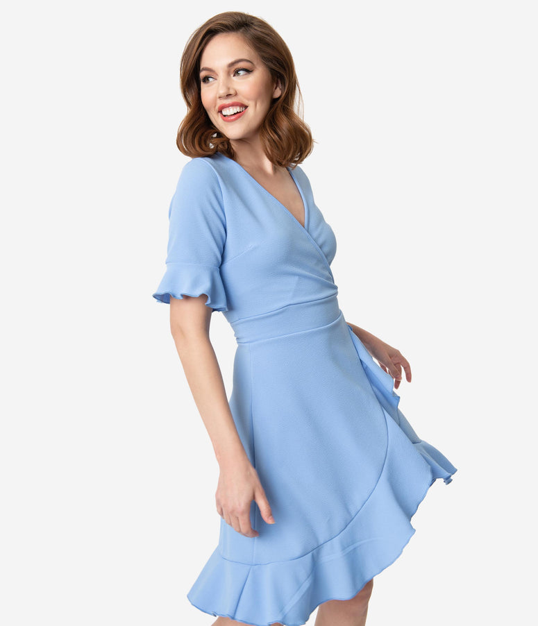 bead18e3cc09 Retro Style Baby Blue Half Sleeve Ruffle Faux Wrap Dress
