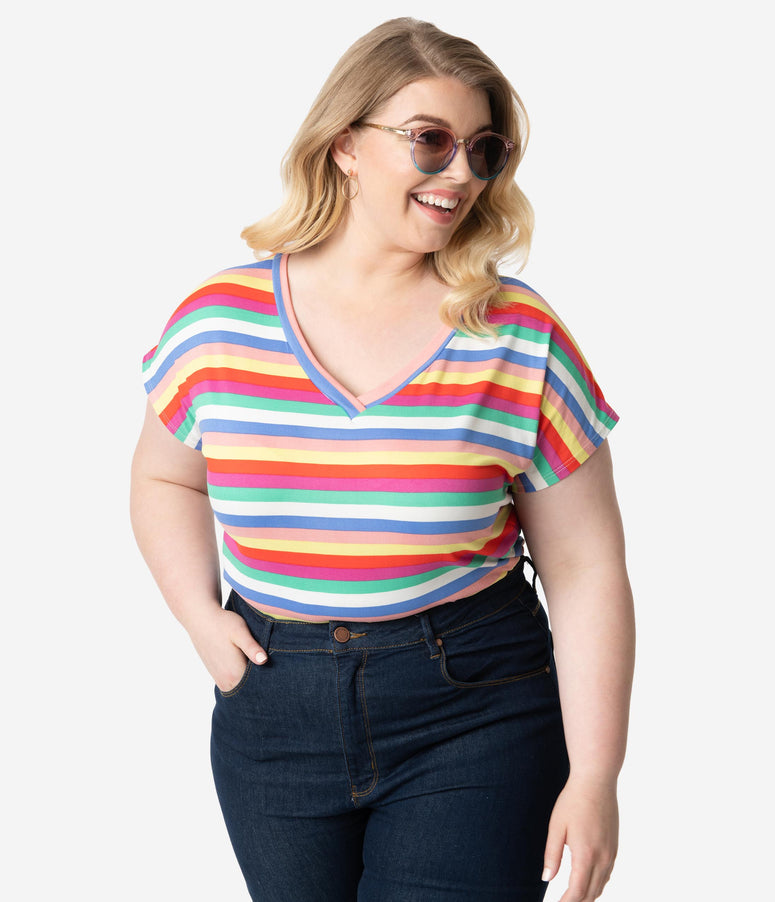 bf1c776c2 Plus Size Multicolor Stripe Open Twist Back Keyhole Short Sleeve Tee