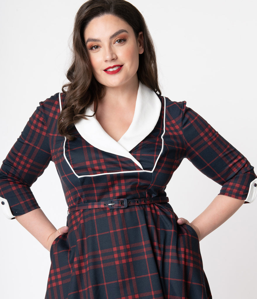Unique Vintage Plus Size 1950s Style Navy & Red Plaid Trudy Swing Dress