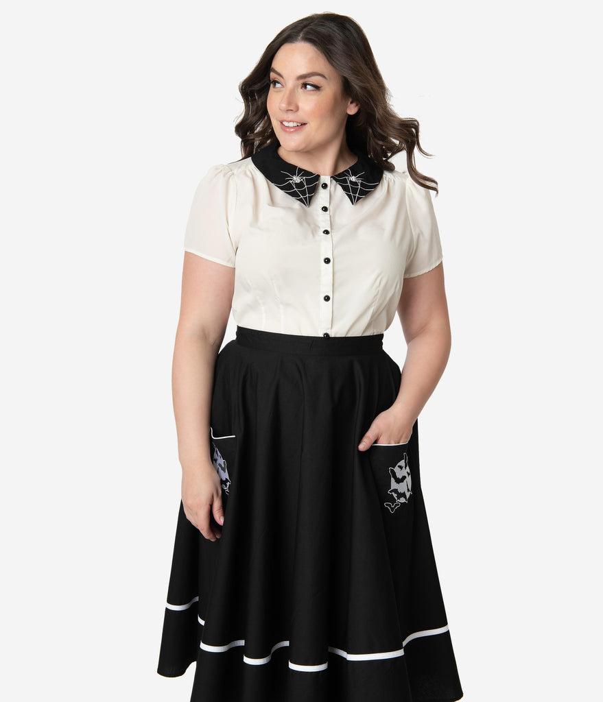 Hell Bunny Plus Size 1950s Style Ivory Spiderweb Collar Miss Muffet Blouse