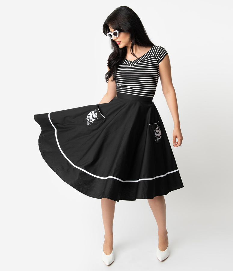 Hell Bunny Black Cotton Full Moon High Waist Swing Skirt
