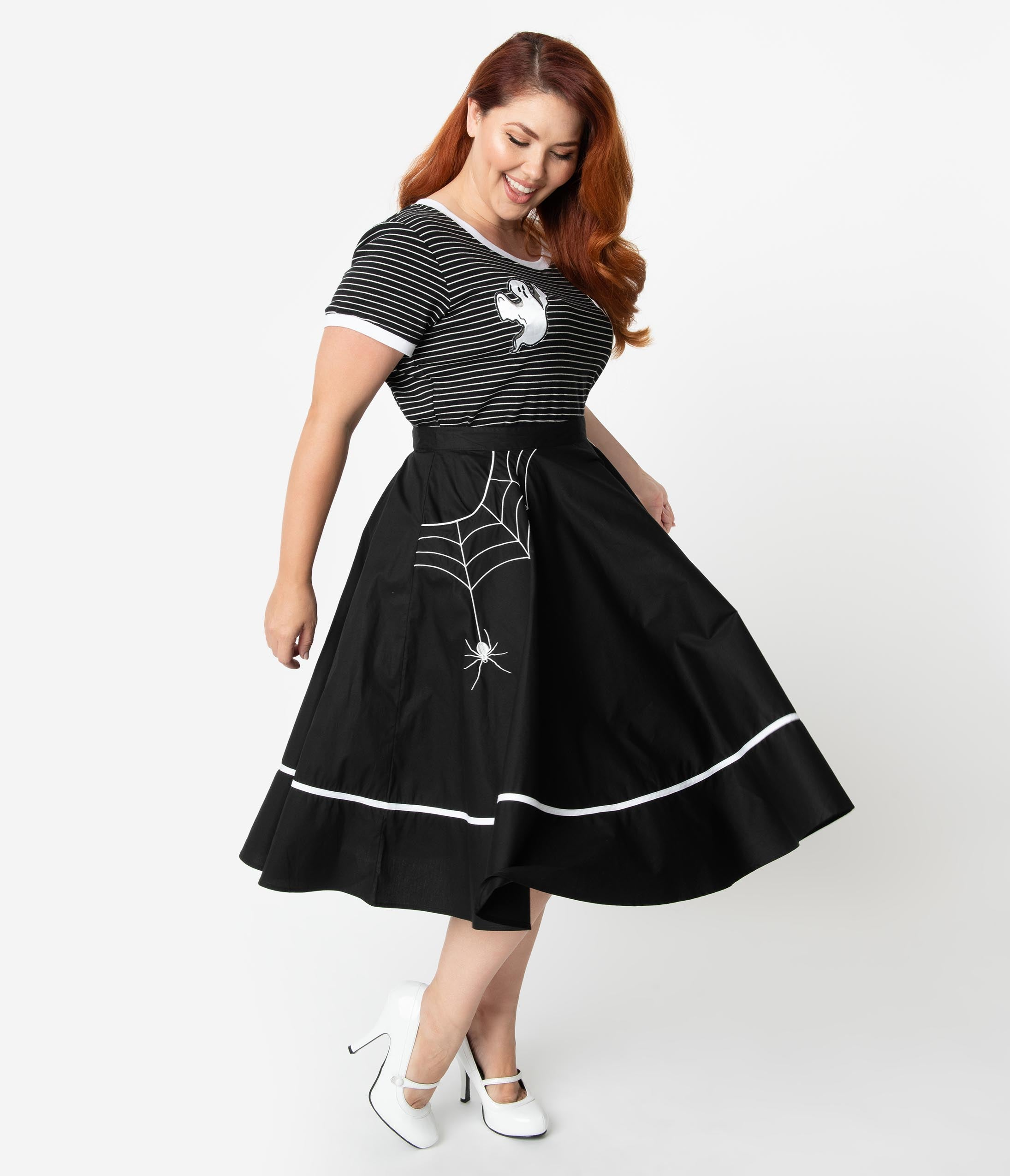1950s Swing Skirt, Poodle Skirt, Pencil Skirts Hell Bunny Plus Size Black Cotton Miss Muffet High Waist Swing Skirt $58.00 AT vintagedancer.com