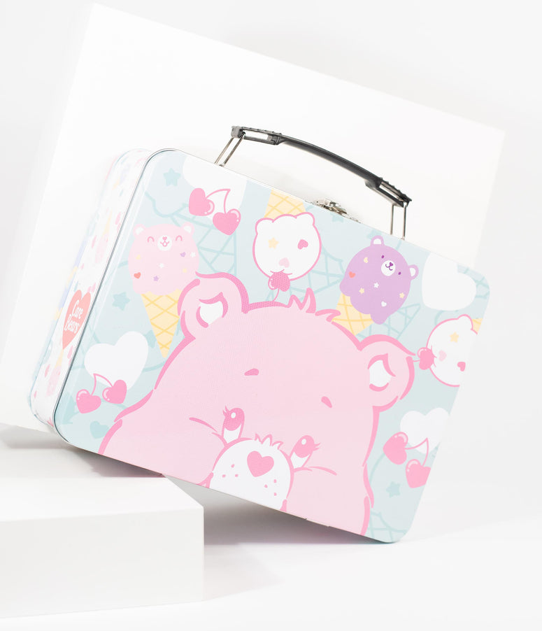 Mint & Pink Care Bears Tin Tote