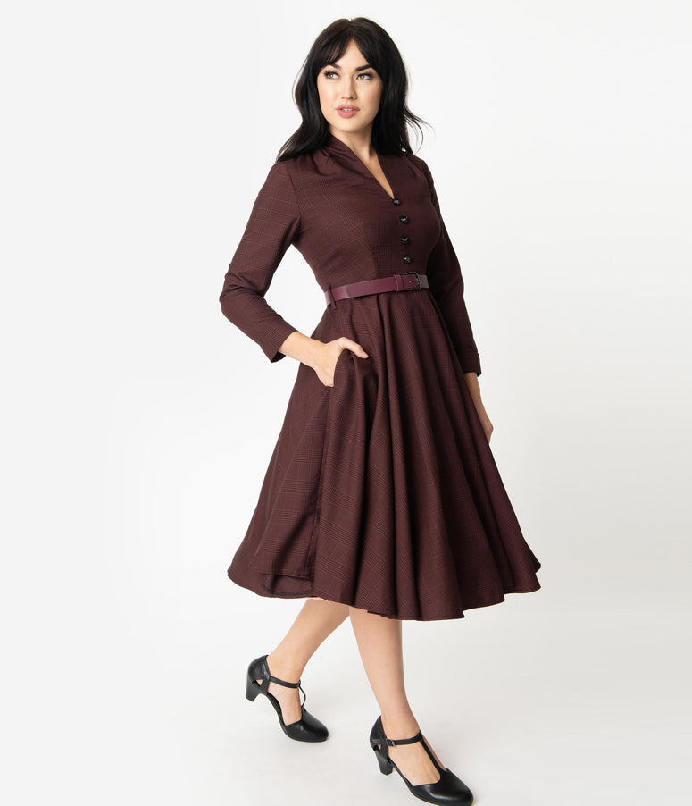 1950s Style Burgundy Glen Check Long Sleeve Helena Swing Dress