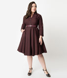 Plus Size 1950s Style Burgundy Glen Check Long Sleeve Helena Swing Dress