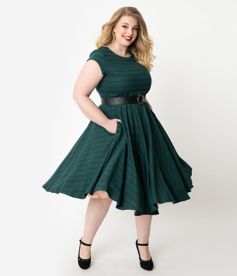 Plus Size 1950s Emerald Green & Black Stripe Cap Sleeve Florence Swing Dress
