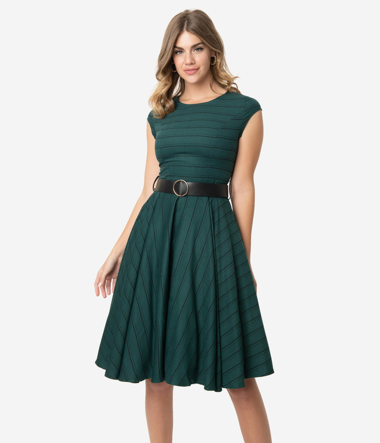 1950s Emerald Green & Black Stripe Cap Sleeve Florence Swing Dress