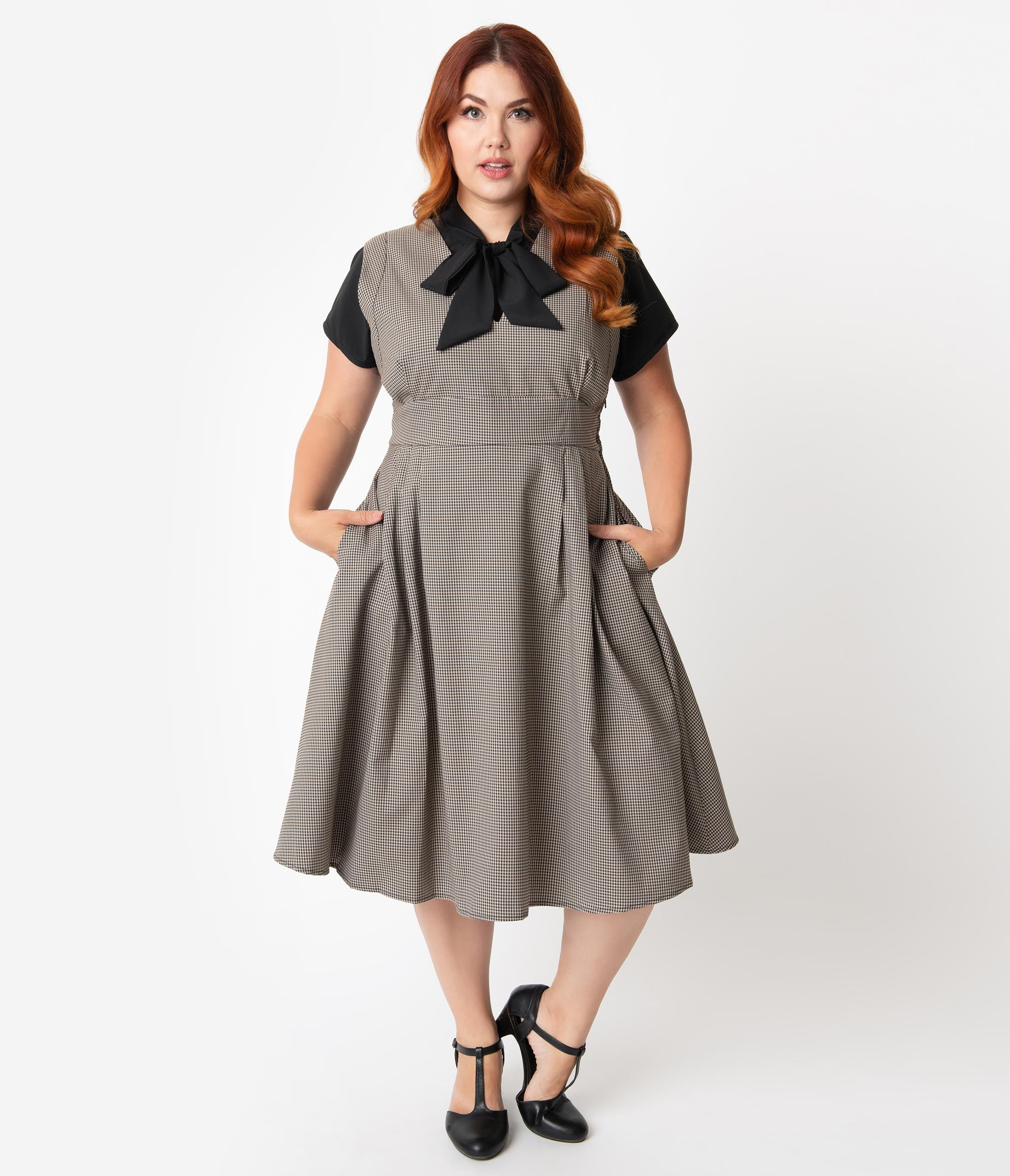 60s 70s Plus Size Dresses, Clothing, Costumes Plus Size Retro Style Brown Gingham Lola Pinafore Swing Dress $88.00 AT vintagedancer.com