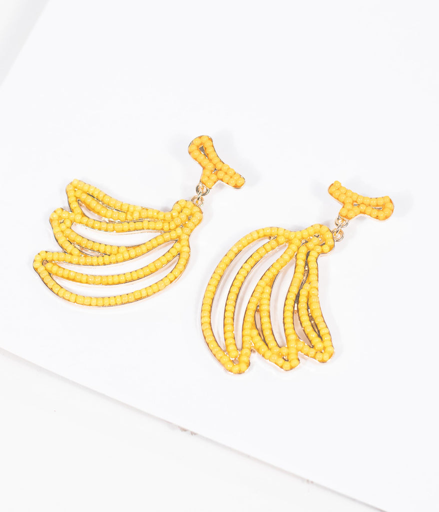 Yellow Banana Beaded Drop Earrings