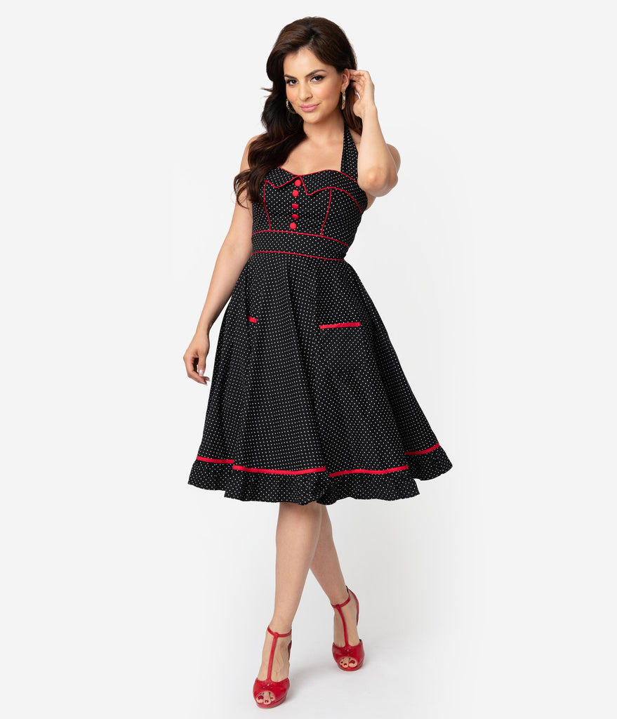 9830f887a547 Hell Bunny 1950s Style Black & White Pin Dot Vanity Swing Dress – Unique  Vintage