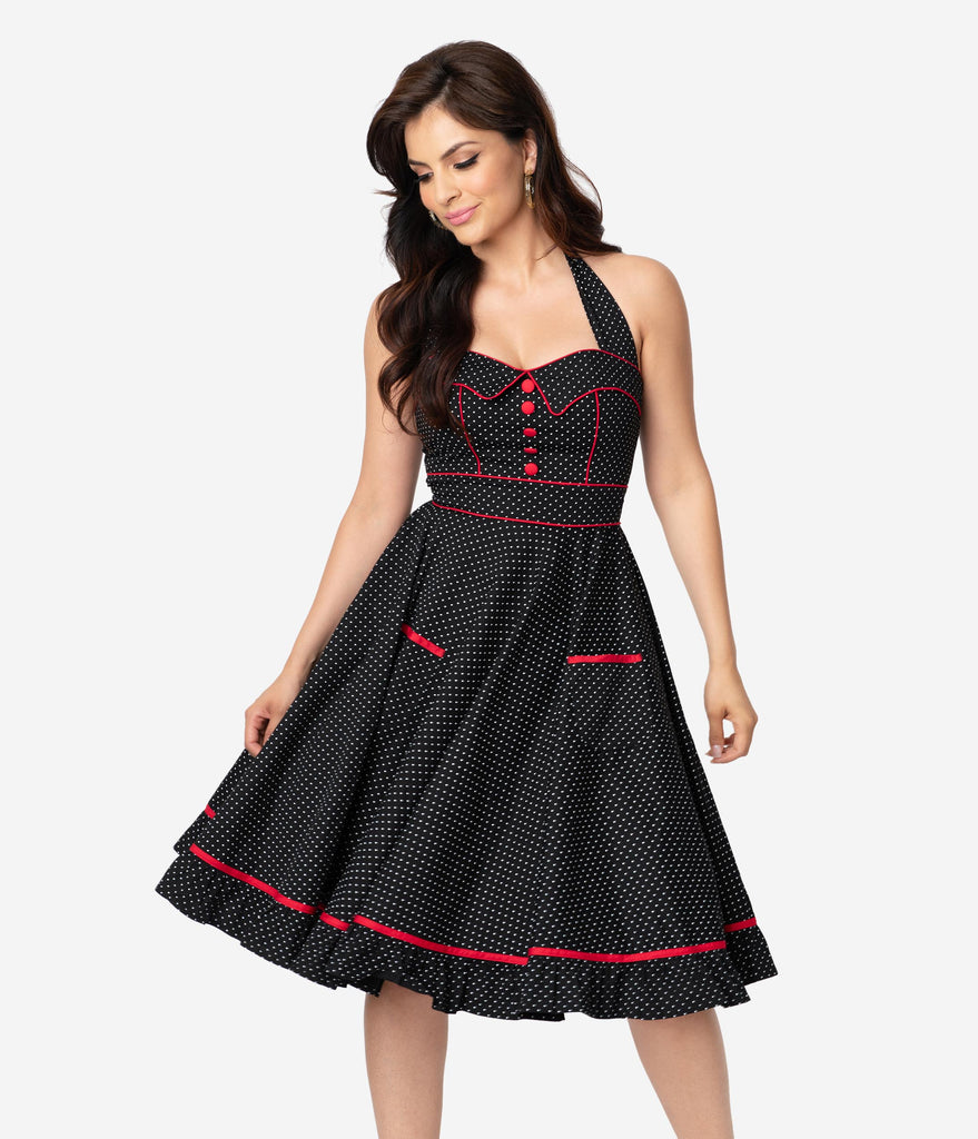 Hell Bunny 1950s Style Black & White Pin Dot Vanity Swing Dress