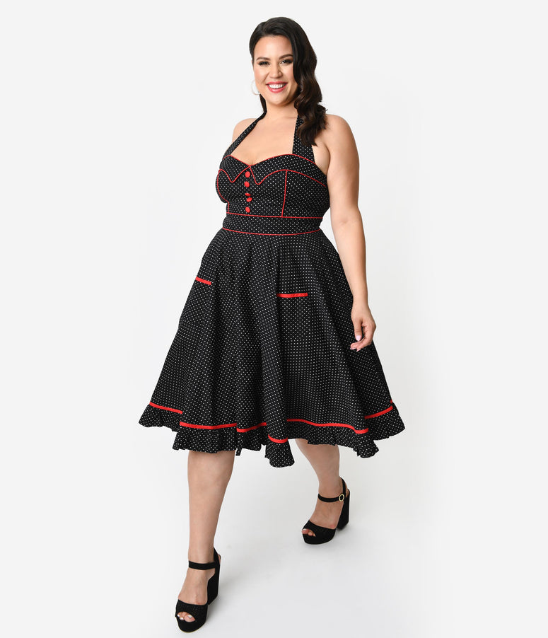 Hell Bunny Plus Size 1950s Style Black & White Pin Dot Vanity Swing Dress