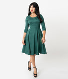 1950s Style Bottle Green Cotton Martha Swing Dress