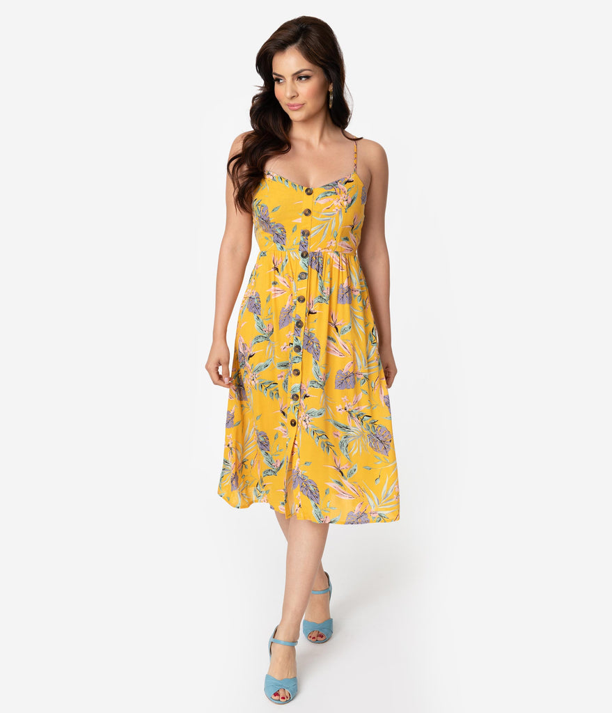 f3fc2a2224 Mustard Yellow Tropical Floral Print Sleeveless Button Midi Summer Dre –  Unique Vintage