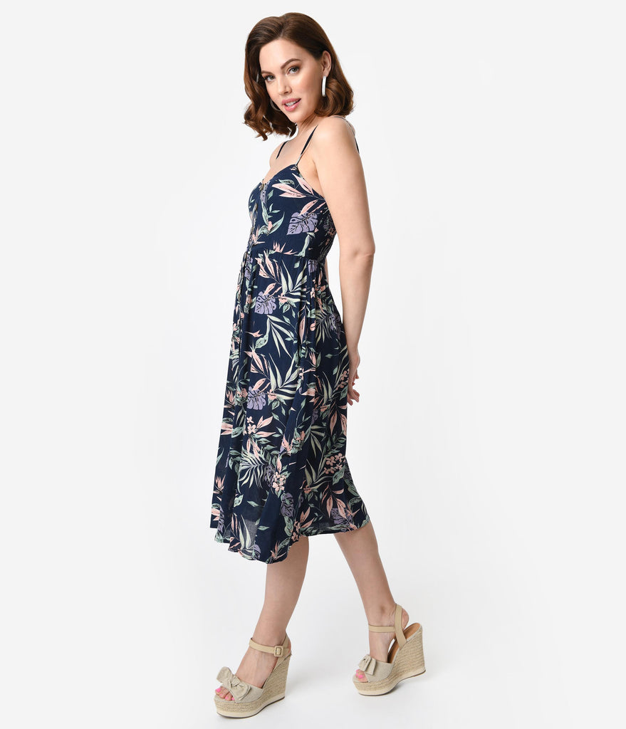 Navy Blue Tropical Floral Print Sleeveless Button Midi Summer Dress