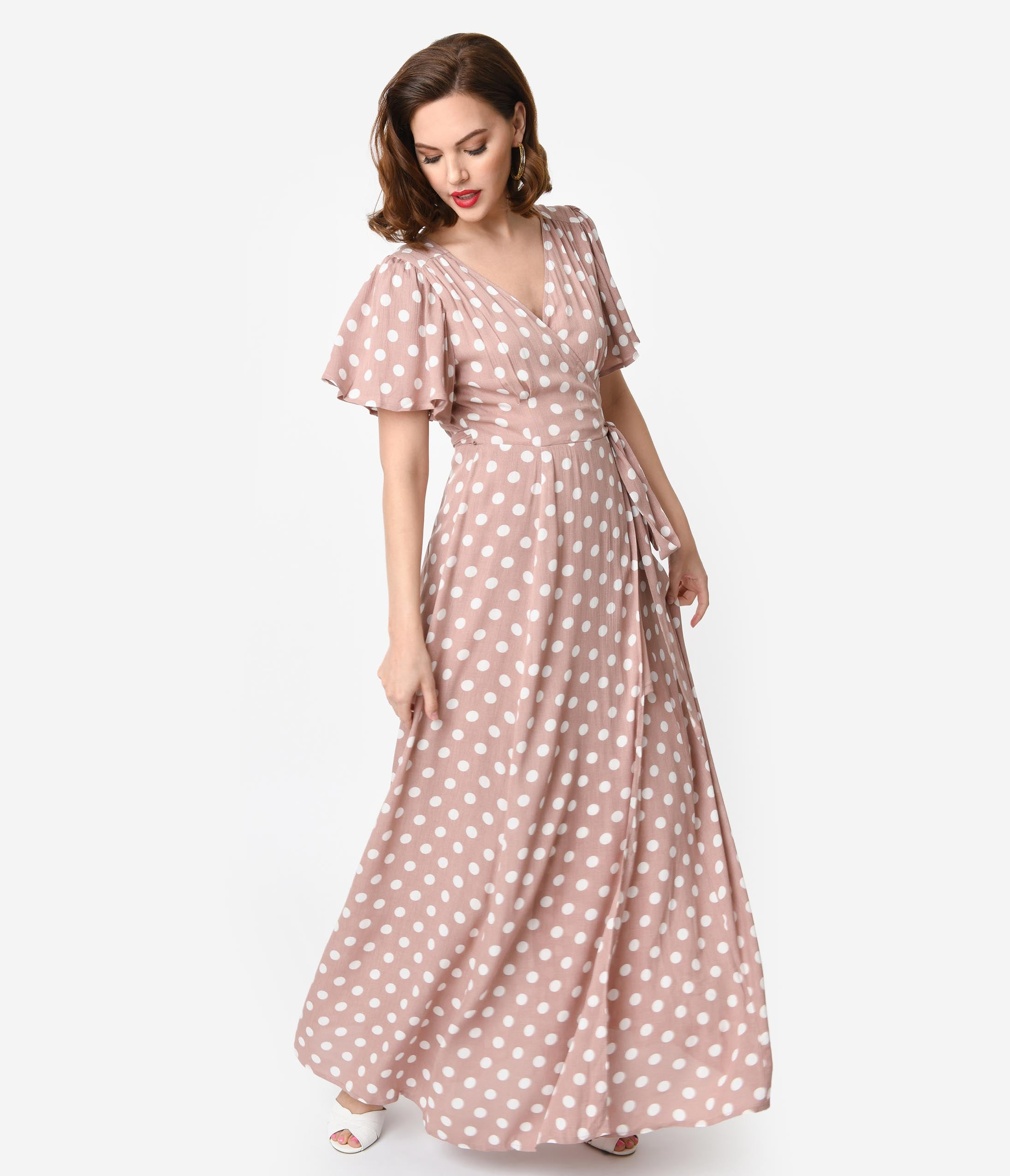 c1000d5da9 Vintage Style Dusty Pink   Ivory Polka Dot Flutter Sleeve Maxi Wrap Dress