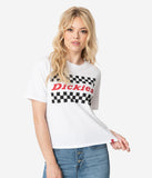Dickies White Checkered Logo Cotton Tomboy Short Sleeve Tee