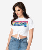 Dickies Red Vintage Rainbow Logo Cotton Front Tie Crop Top