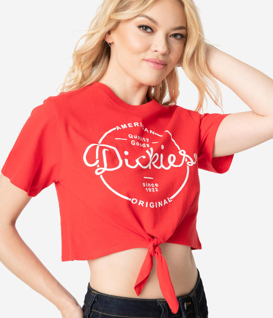 235b876f6ac ... Dickies Red Vintage Medallion Logo Cotton Front Tie Crop Top ...